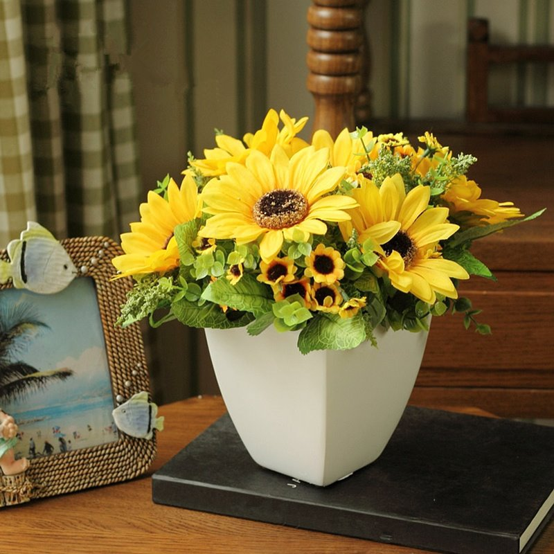 European Country Style Artificial Sunflowers Desktop Flower Sets