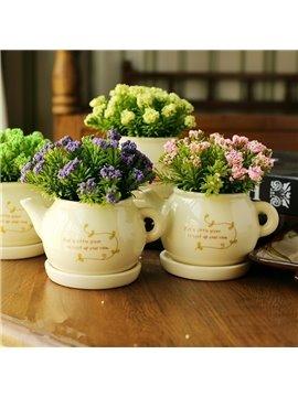 Fresh Modern Creative Teapot Shape Artificial Flower Sets
