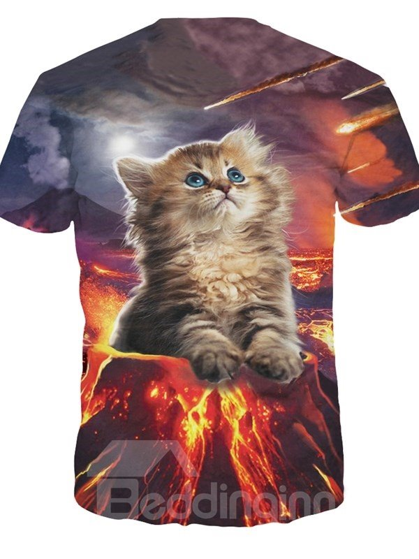 Round Neck Cat in Volcano Pattern 3D Painted T-Shirt