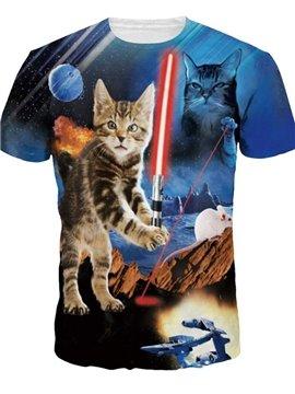 Unique Round Neck Cat with Mouse Pattern 3D Painted T-Shirt