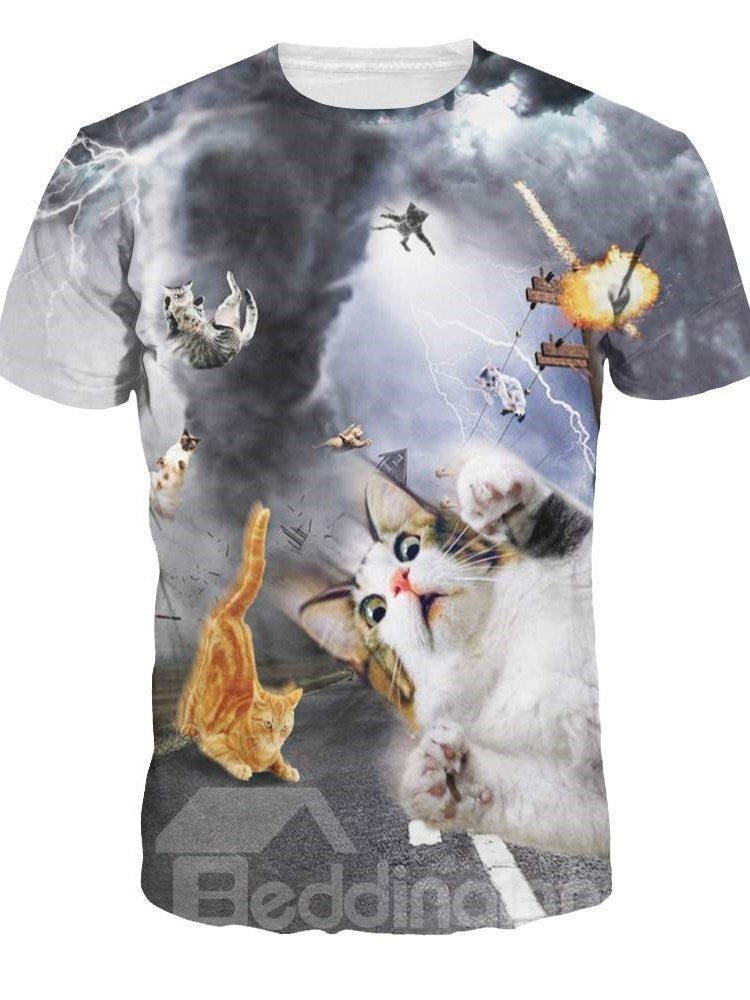 Unisex Casual Short Sleeve Tornado and Cats 3D Pattern T-Shirt