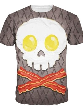 Unique Round Neck Egg Skull Pattern 3D Painted T-Shirt