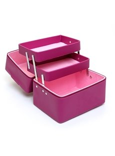 Purple 3-Layer PU Travel Cosmetic Bags with Zipper