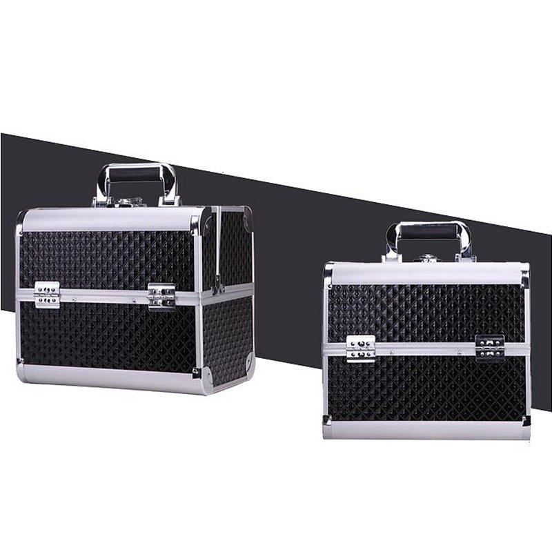 Concise Black 3-Tier Trays PVC Cosmetic Bags With Lock