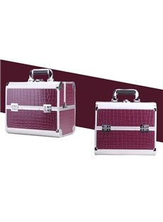 Purple 3-Tier Trays PVC Cosmetic Bags With Lock