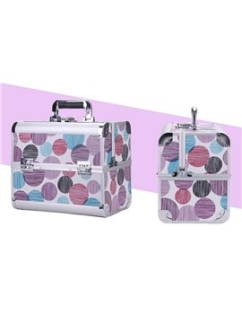 Colored Spots Printing 3-Tier Trays PVC Cosmetic Bags With Lock