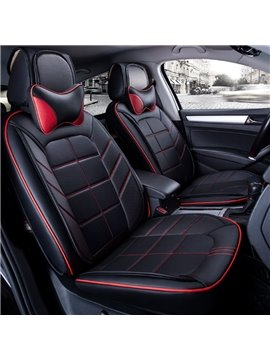 Fashion 3D Effect Design With Durable PU Leather Material Universal Five Car Seat Cover