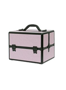 Pink Rhinestone Design Portable 3-Tier Accordion Trays Makeup Case with Shoulder Strap