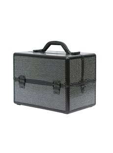 Black Rhinestone Design Portable 3-Tier Accordion Trays Makeup Case with Shoulder Strap