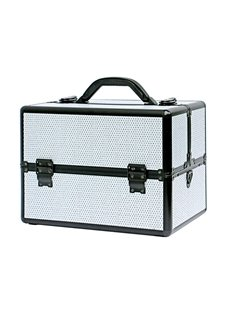 White Rhinestone Design Portable 3-Tier Accordion Trays Makeup Case with Shoulder Strap