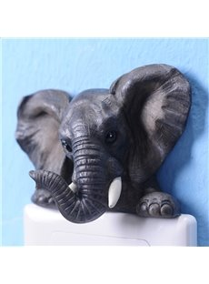 Black Modern Elephant Design Decorative 3D Wall Switch Stickers