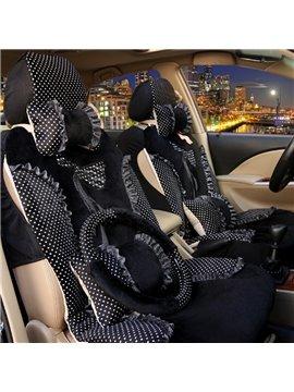 Charming Black Color Princess Lace Bow Design Universal Five Car Seat Cover