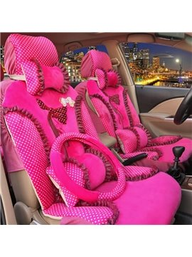Beautiful Rose Red Color Princess Bow Design Universal Five Car Seat Cover