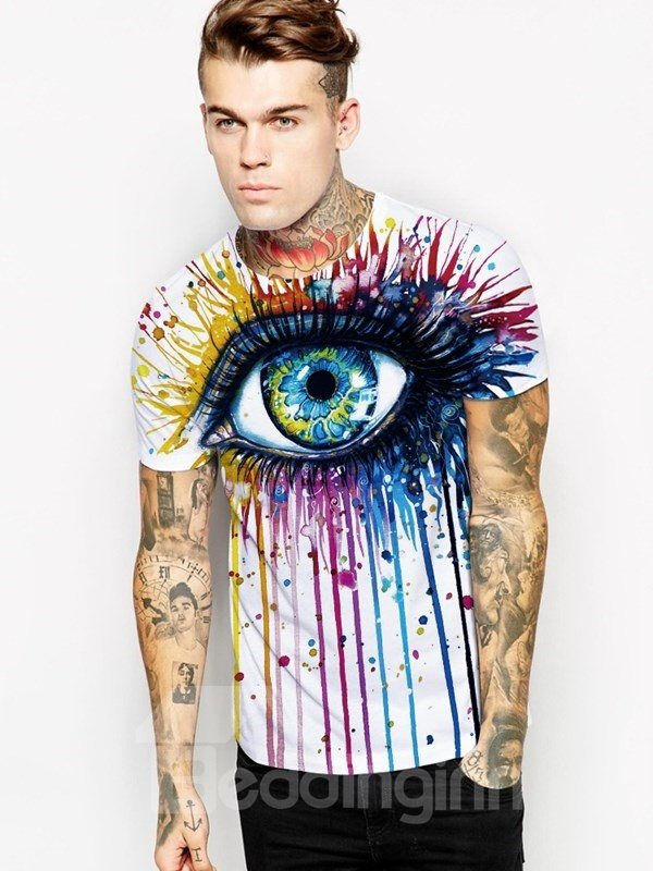 Colorful Big Eye Pattern Cool Personality Style Round Neck 3D Painted T-Shirt