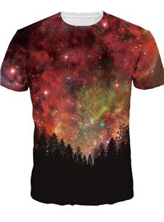 Bright Round Neck Galaxy and Tree Pattern 3D Painted T-Shirt