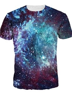 Shining Round Neck Blue Galaxy Pattern 3D Painted T-Shirt