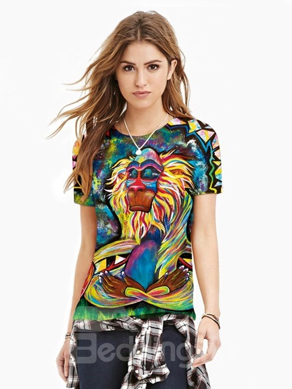 Creative Round Neck Special Orangutan Pattern 3D Painted T-Shirt