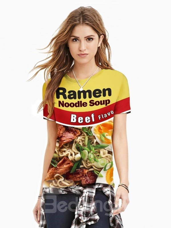 Beef Noodle Unisex Casual Short Sleeve 3D Pattern T-Shirt