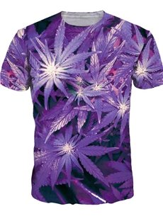 Charming Round Neck Leaf Pattern Purple 3D Painted T-Shirt