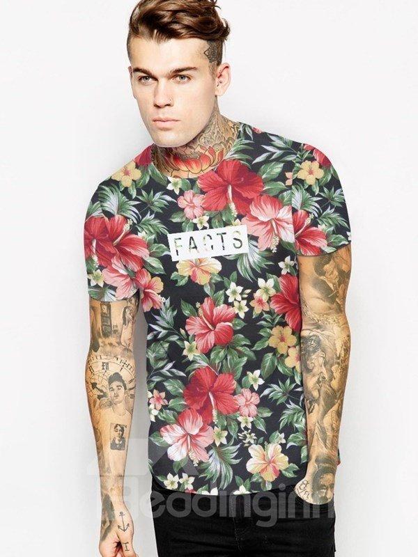 Colorful Floral Casual Design Unisex Crewneck 3D Pattern T-Shirt