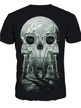 Unique Round Neck Spaceman in Moon Pattern 3D Painted T-Shirt