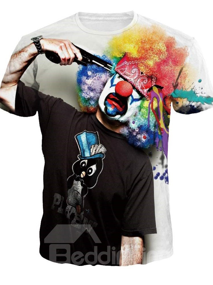 Unisex Clown Suicide Casual Crewneck 3D Pattern T-Shirt