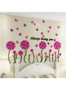 Pink Acrylic Flowers and Butterflies Always Loving You Design 3D Wall Stickers