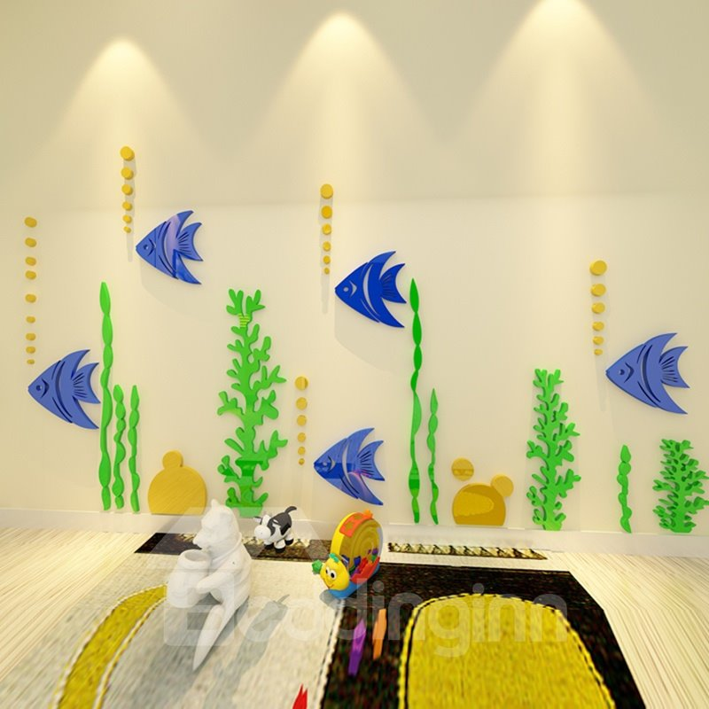 Natural Acrylic Blue Fishes with Bubbles and Water Plants Decoration 3D Wall Stickers