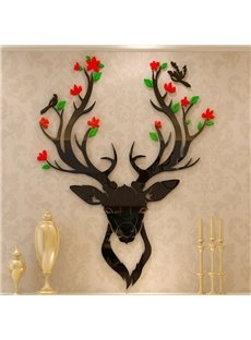 Modern Creative Deer with Beautiful Flower Antlers Pattern 3D Wall Stickers