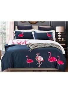 Amazing Flamingo Pattern Cotton 4-Piece Duvet Cover Sets