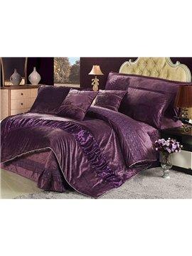 Super Softy 4-Piece Suede Dark Purple Duvet Cover Sets