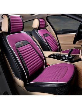 Fantastic Purple With Black Color Durable PU Leather With Comfortable Velvet Material Universal Car Seat Cover