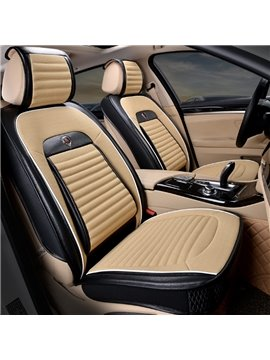 Fashion Classic Contrast Color Design Durable PU Leather With Soft Velvet Material Universal Five Car Seat Cover