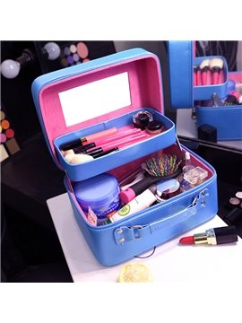 Solid Blue PU Cosmetic Travel Carrying Case with Mirror