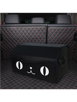 Lovely Smiling Face Design PU Leather Material High Capacity Car Trunk Organizer