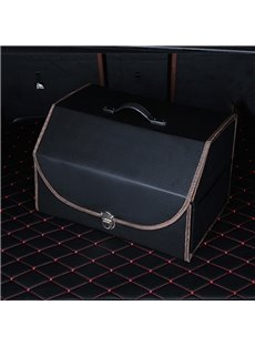 High Capacity And Foldable Luxury Durable Leather Material Car Trunk Organizer