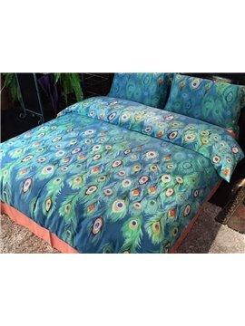 Fantastic Peacock Pattern Kids Cotton 4-Piece Duvet Cover Sets