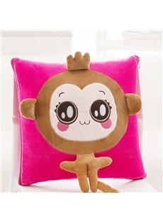 Cute Cartoon Crown Monkey Pattern Design Three Kinds Of Use Multi-Functional Car Pillow