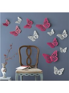 White and Pink Iron Butterflies Design 12 Pieces Home Decorative 3D Wall Stickers