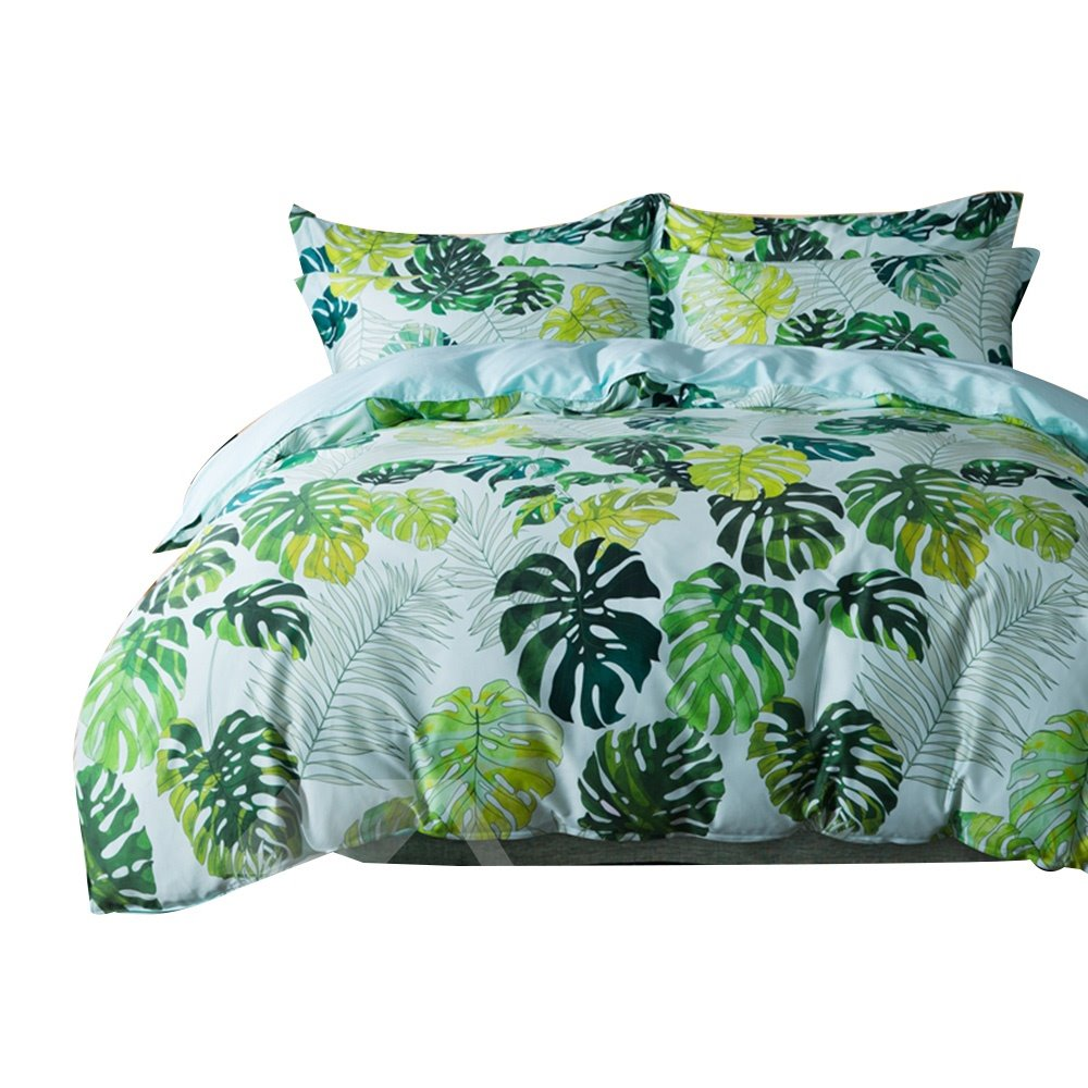 Fresh Green Leaves Print Egyptian Cotton 4-Piece Duvet Cover