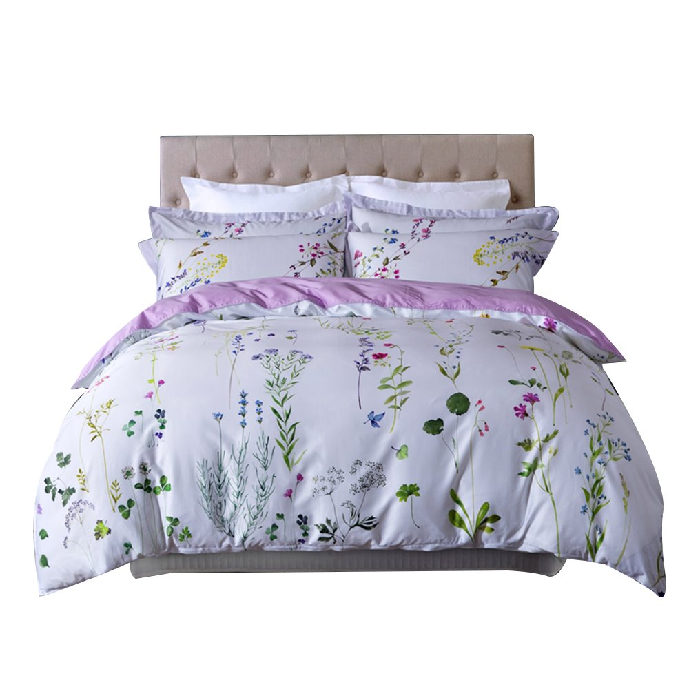 Pastoral Floral Egyptian Cotton White 4-Piece Duvet Cover Sets