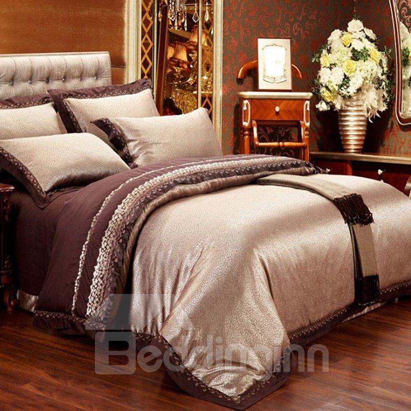 Royal Style Golden Jacquard 6-Piece Duvet Cover Sets