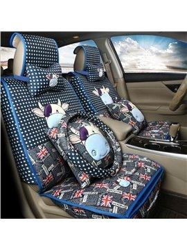 Cute Cartoon Calf Design With British Flag Design Durable Universal Car Seat Cover