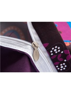 Gorgeous Bohemian Style Purple Print 3-Piece Polyester Duvet Cover Sets