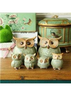Fancy Ceramic Owls Shape Design 6 Pieces Home Desktop Decorations