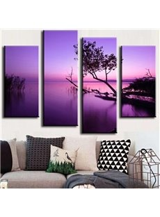 Purple Natural Scenery Pattern 4 Pieces None Framed Wall Art Prints