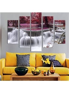 Gorgeous Natural Waterfall Scenery Pattern Canvas 5 Pieces None Framed Wall Art Prints