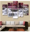 Red Forest and Waterfall 5-Piece Canvas Hung Non-framed Wall Prints