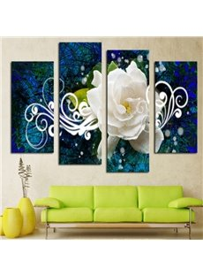 Elegant Blue Modern Design White Flower Pattern 4 Pieces Non Framed Wall Art Prints