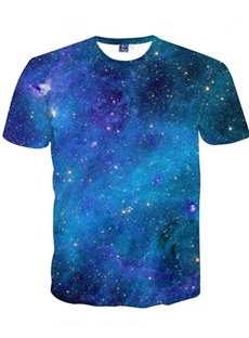 Amazing Round Neck Special Blue Galaxy Pattern 3D Painted T-Shirt